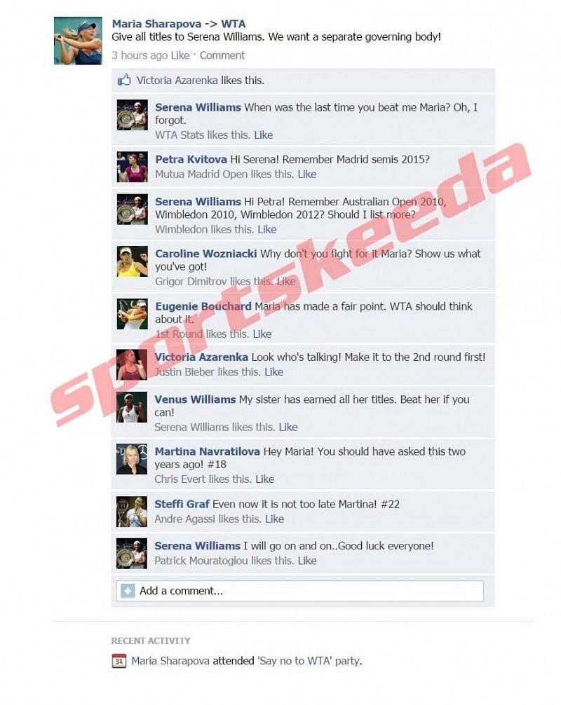 Fake FB Wall: Maria Sharapova is unhappy with Serena Williams and WTA