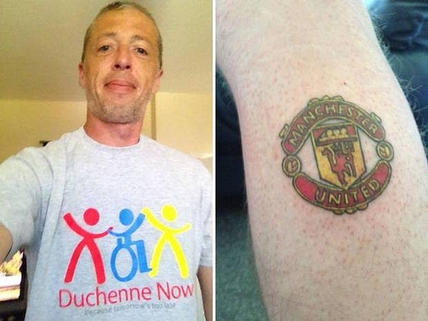 Manchester City fan gets Manchester United tattoo after raising £10,000 for charity