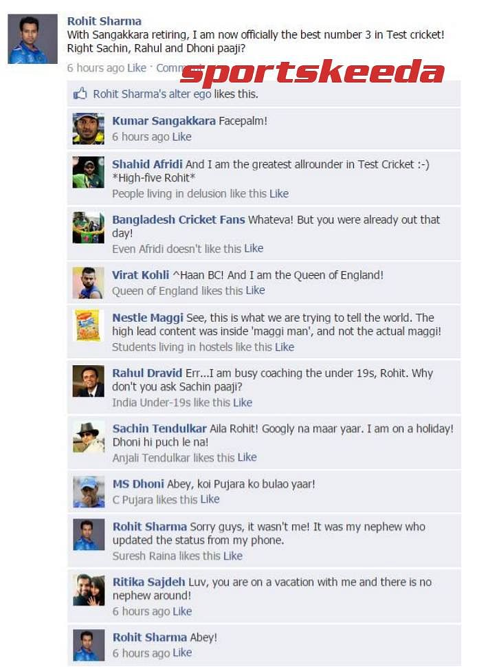 Fake FB wall: Rohit tries to troll Sanga on FB, gets himself trolled