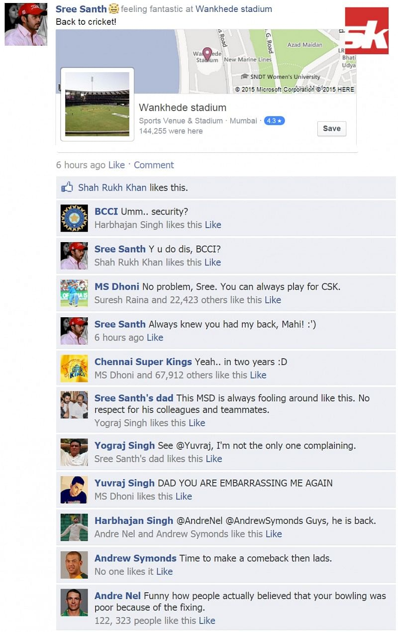 Fake FB Wall: Sreesanth checks into Wankhede, gets trolled by Dhoni and others