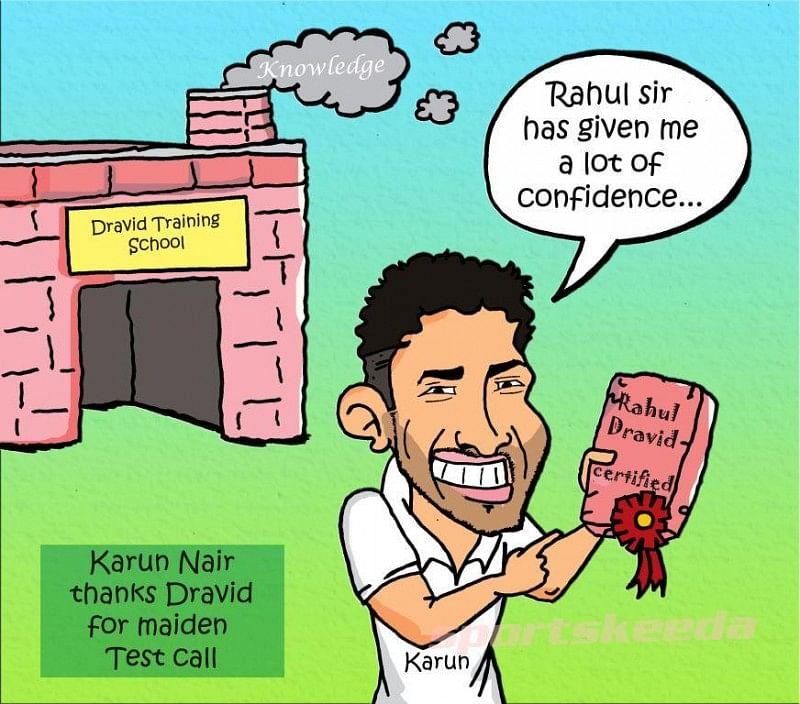 Comic: Karun Nair thanks Rahul Dravid for maiden Test call