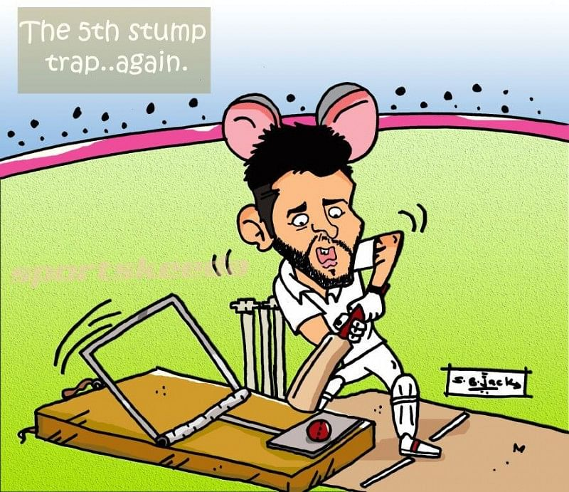 The 5th stump trap for Virat Kohli again