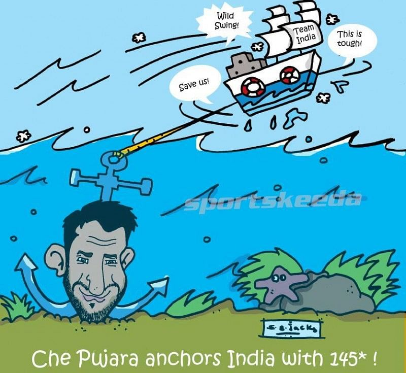 Cheteshwar Pujara anchors Team India innings