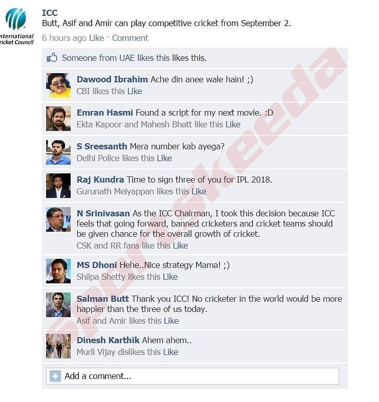 Fake FB wall: ICC welcomes back Pakistani trio
