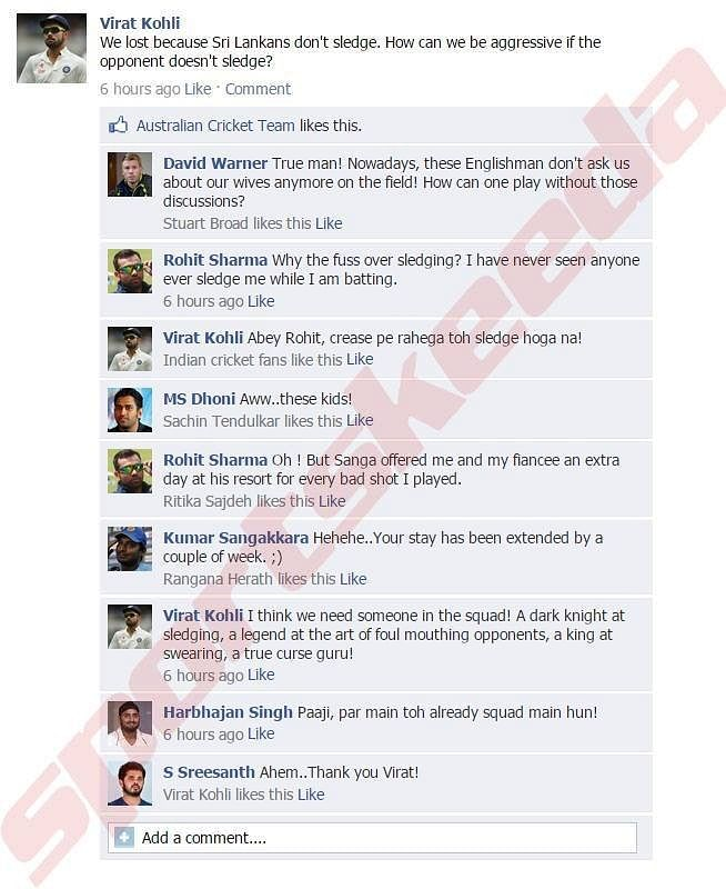 Fake FB wall: Virat Kohli explains why India lost the first Test