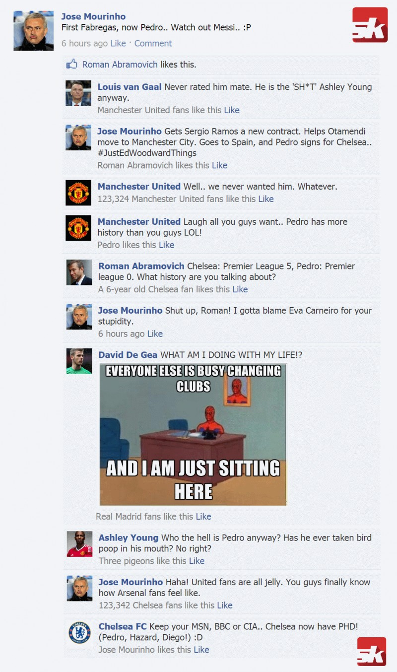 Fake FB Wall: Mourinho pokes fun at Manchester United after signing Pedro