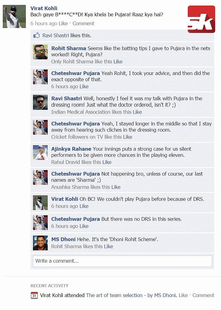 Fake FB wall: Rohli, Kohli and Shastri fight over Pujara's century