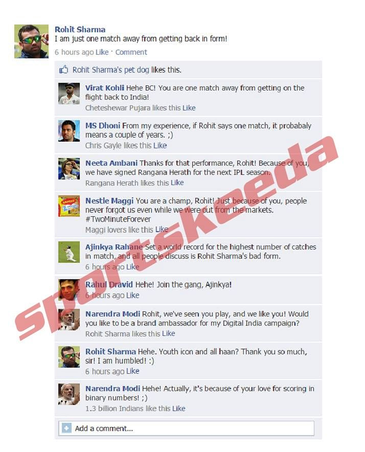 Fake FB wall: Rohit Sharma discusses his form, gets trolled by everyone including PM Modi