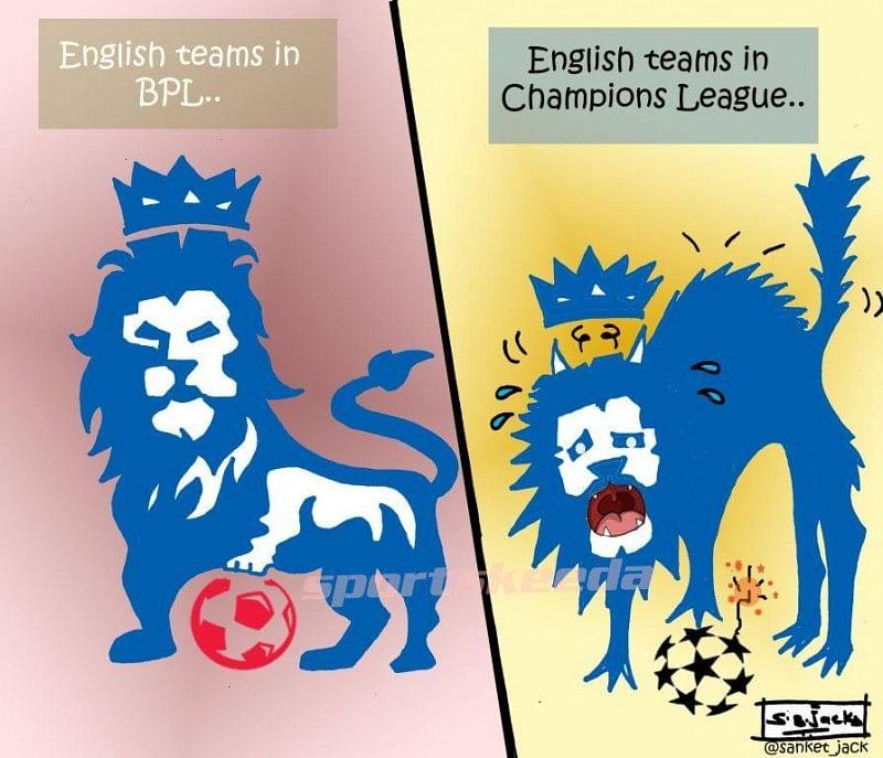 Comic: English teams in Premier League vs Champions League