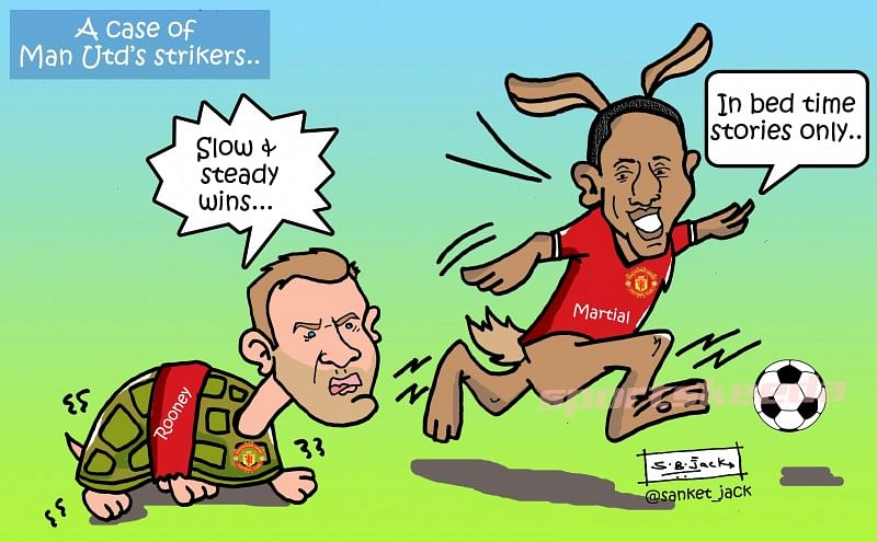 Comic: Wayne Rooney's slow start compared to Anthony Martial's blazing beginning for Manchester United