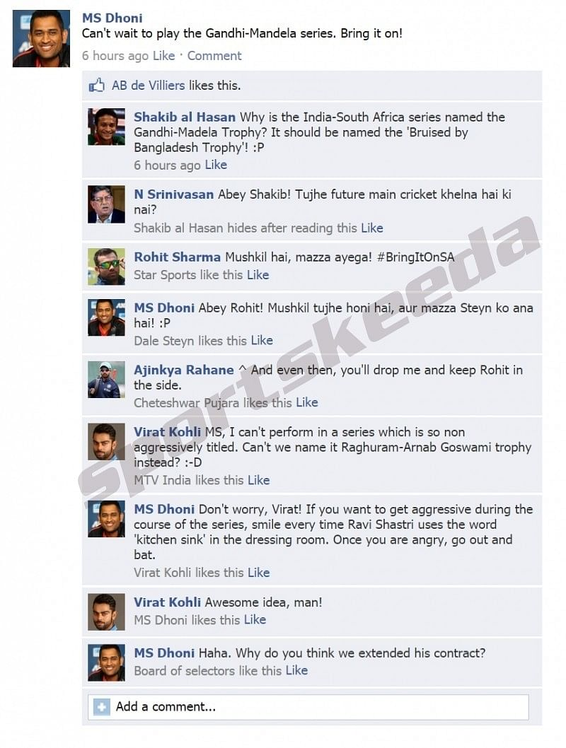 Fake FB wall: MS Dhoni looks forward to the Gandhi-Mandela series