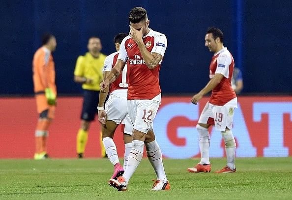 Highlights: Giroud sees red as Arsenal suffer 2-1 defeat against Dinamo Zagreb