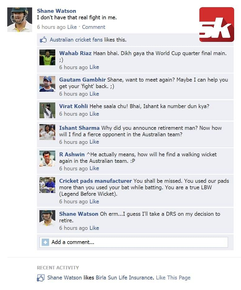 Fake FB wall: Indian, Pakistan cricketers troll Shane Watson after his honest confession