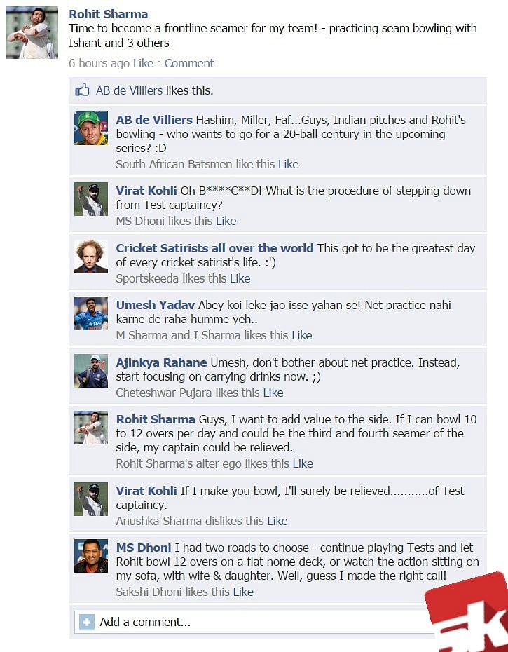 Fake FB wall: Rohit plans to become a frontline seamer, gets trolled on FB
