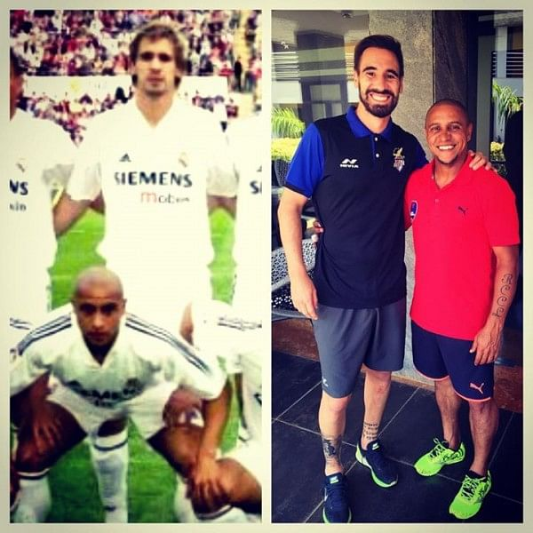 ISL: Former Real Madrid teammates Borja Fernandez and Roberto Carlos reunite after 10 years