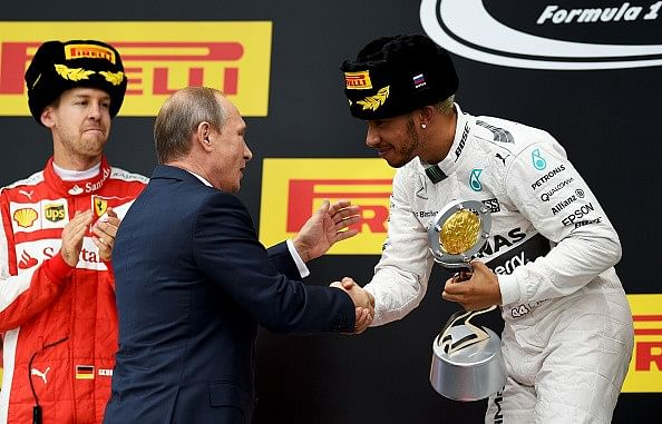 Russian GP: Lewis Hamilton wins, Force India's Perez on podium in third