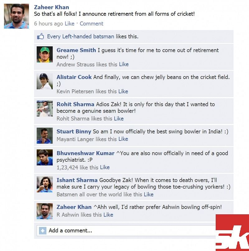 Fake FB wall: Cricketers discuss Zaheer's retirement