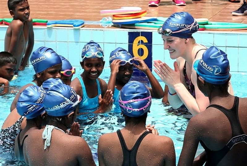 Missy Franklin visits Tsunami hit areas in Sri Lanka