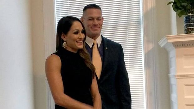 john cena and nikki bella make public appearance aj lee. Black Bedroom Furniture Sets. Home Design Ideas