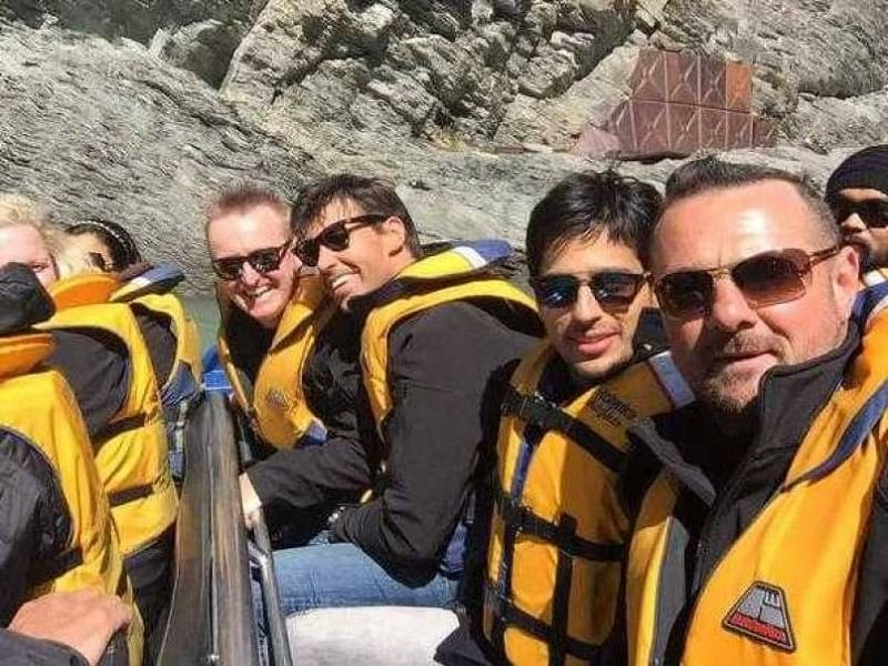 Bollywood star Siddharth Malhotra takes the crease with Stephen Fleming and other Kiwis