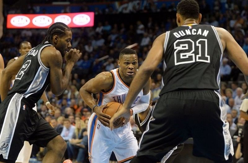 Westbrook's Thunder overcome the San Antonio Spurs in their season debut