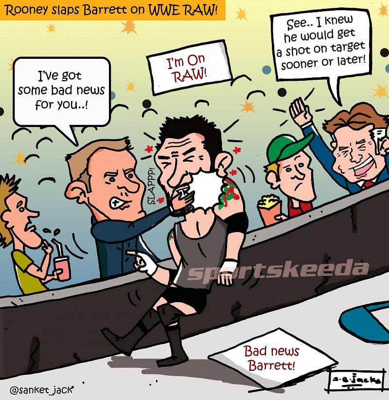 Comic: Manchester United striker Wayne Rooney slaps Wade Barrett on WWE RAW