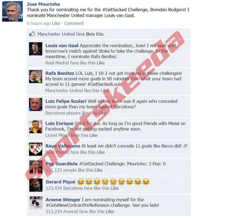 Fake FB Wall: Mourinho nominates Van Gaal for the #GetSacked challenge