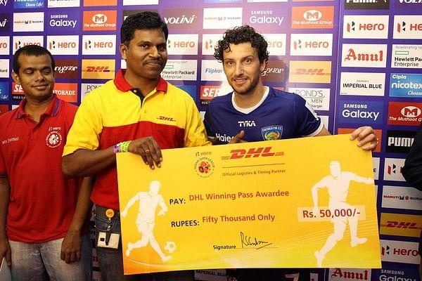 Elano Blumer proves his talisman status for Chennaiyin FC by bagging the DHL Winning Pass award