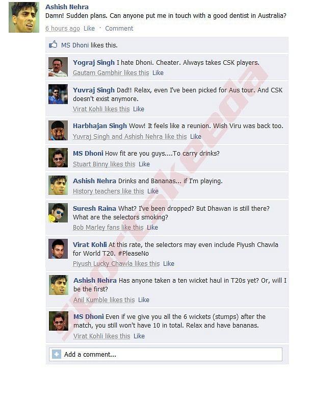 Fake FB Wall: Ashish Nehra, Yuvraj Singh trolled by MS Dhoni after T20 comeback