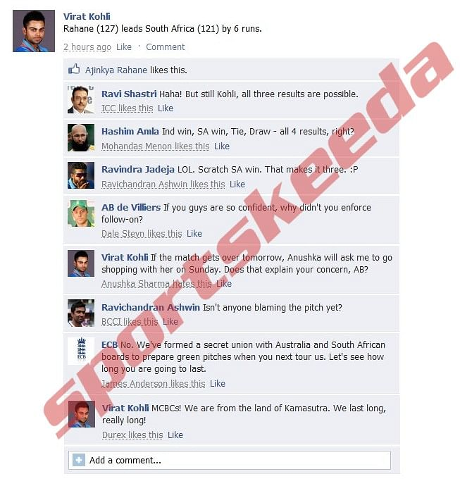 Fake FB Wall: Virat Kohli trolls South Africa after 4th Test collapse