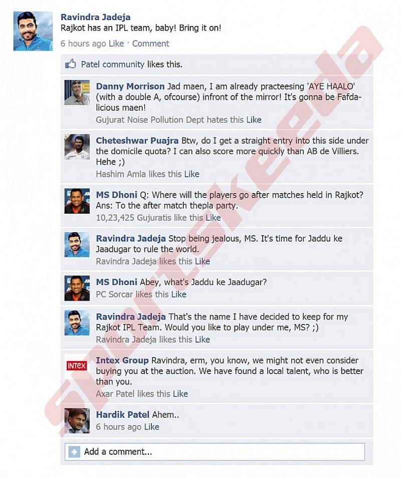Fake FB wall: Jadeja updates FB wall after Rajkot gets IPL team