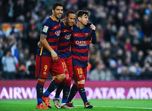 Messi, Suarez and Neymar have now scored more than any team in 2015