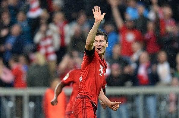 Robert Lewandowski five goals nine minutes Wolfsburg