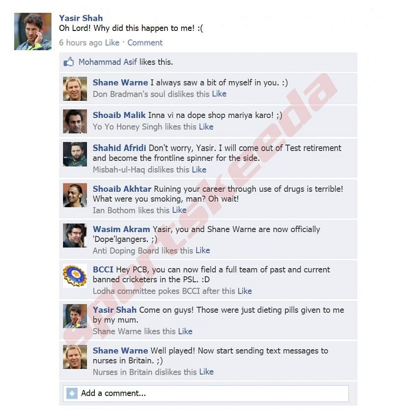 Fake FB wall: Yasir Shah updates FB after being banned, others join in
