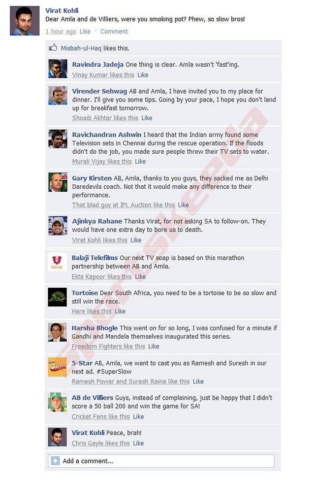 Fake FB Wall: Virat Kohli makes fun of Hashim Amla and AB de Villiers, gets trolled