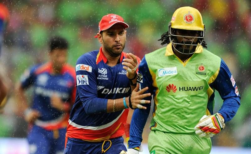 Yuvraj Singh reacts to Chris Gayle equalling his fastest fifty record