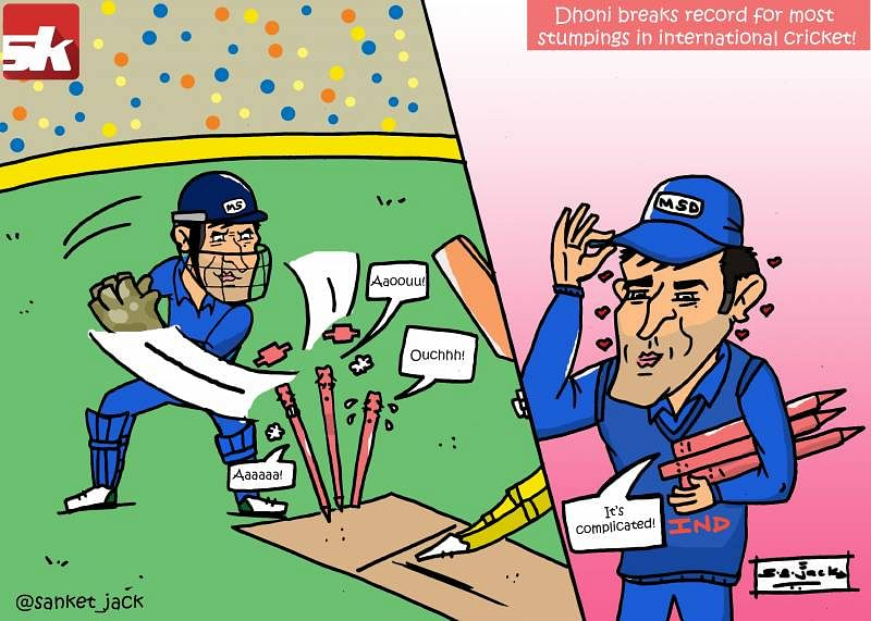 The relation between MS Dhoni's stumpings and the stumps