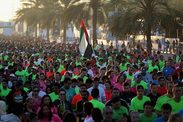 Ethiopian runner Tesfaye Abera wins the Dubai Marathon