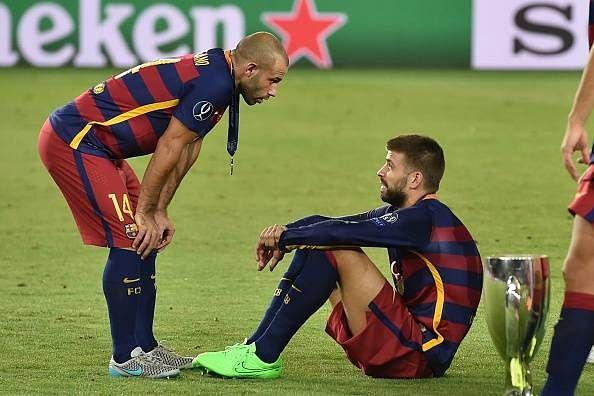 Pique trolls 'legend' Mascherano for not scoring for Barcelona