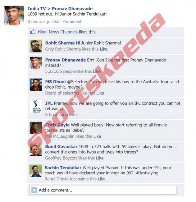 Fake FB wall: Cricketers comment on Pravan Dhanavade's FB wall after his record breaking knock
