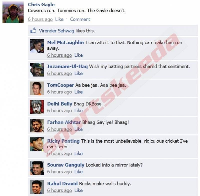 Fake FB Wall: Chris Gayle trolled on Facebook for not taking a run
