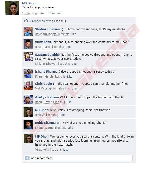 Fake FB Wall: MS Dhoni trolls Rohit Sharma after 2nd ODI