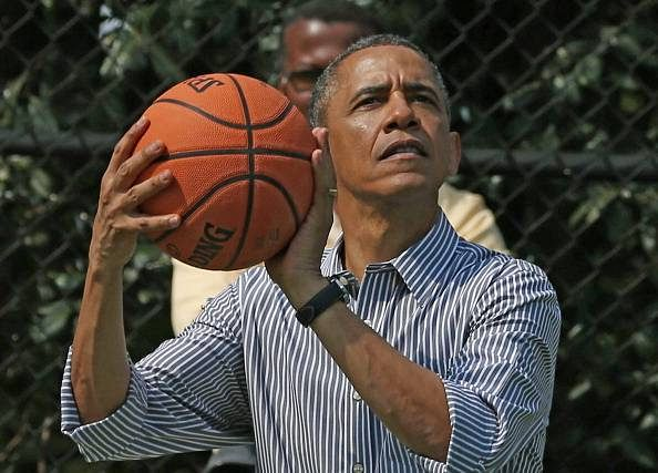 Barack Obama says he is best suited for the job of basketball commissioner