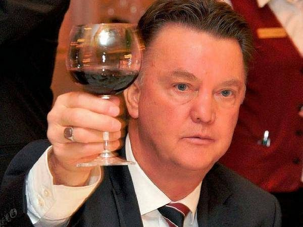Louis Van Gaal Celebrates Win Against Derby County With A