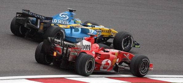 Schumacher Alonso Overtake Shanghai 2006