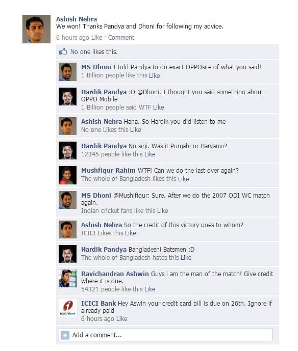 Fake FB Wall: Ashish Nehra wants to take the credit #IndvsBan