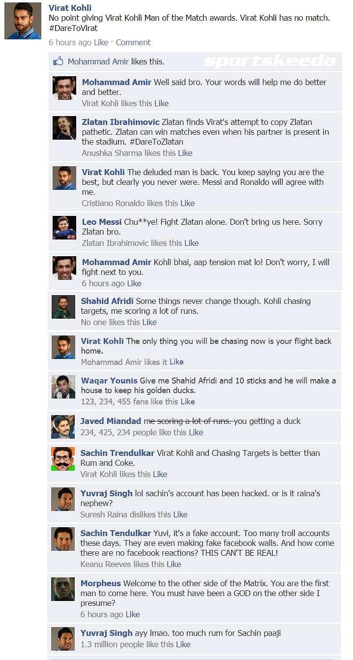 Fake FB Wall: Virat Kohli carries his fine form to social media