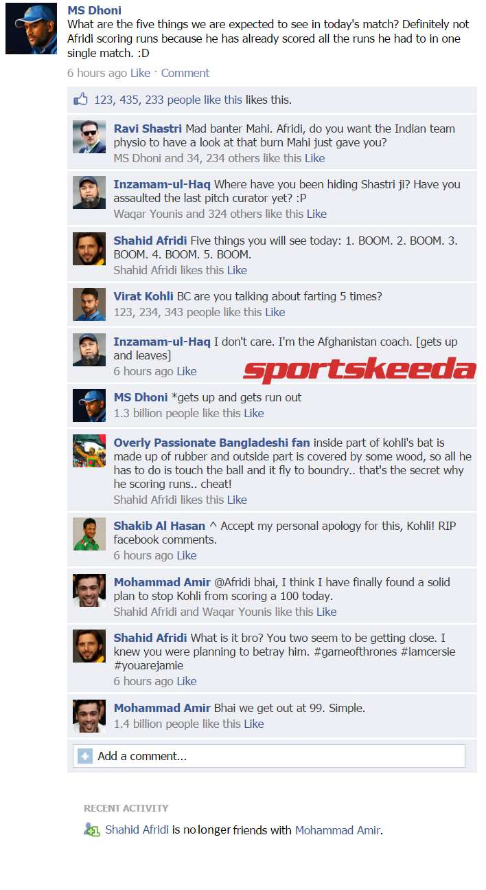 Fake FB Wall: Indian and Pakistani cricketers indulge in pre-match banter