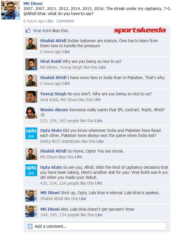 Fake FB Wall: Dhoni trolls Afridi after India cruise to 11th World Cup victory against Pakistan