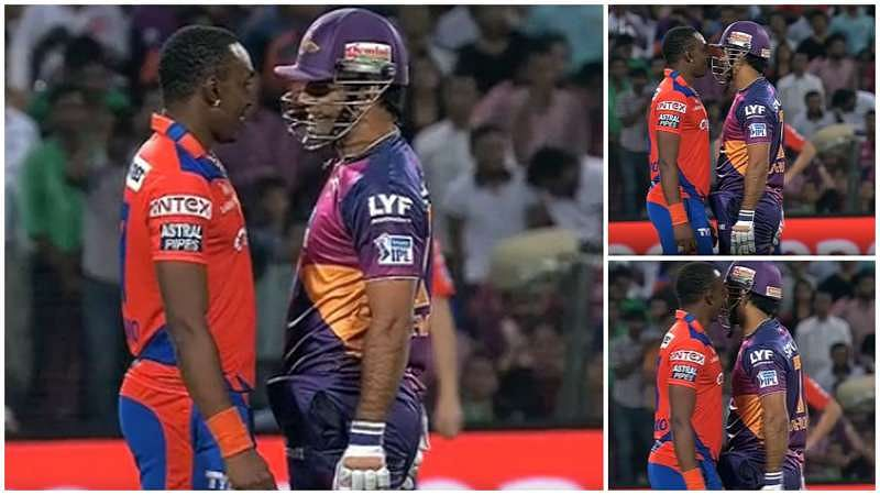 Dwayne Bravo squares up jokingly to MS Dhoni during GL vs RPS IPL match